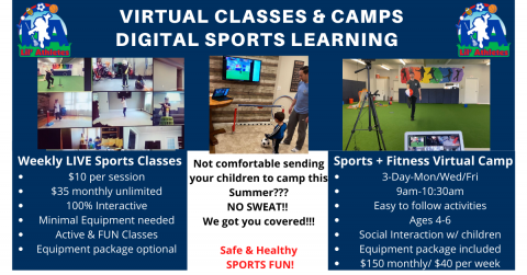Virtual Sports Classes & Camps-Safe and Healthy FUN option for children this Summer!