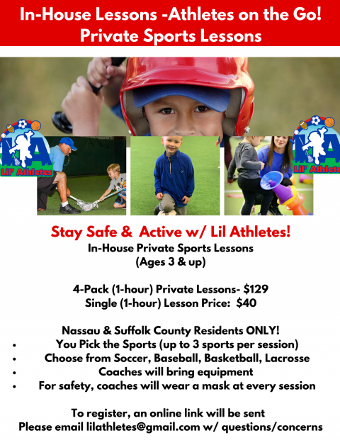 In-House Private Sports Lessons-(Ages 3 & up)-Nassau & Suffolk County Residents only! Please visit https://sportsedge.ezfacility.com/ to book in-home lessons!