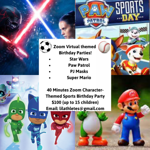 *NEW* Virtual Character Themed Birthday Parties-Choose from Star Wars, Paw Patrol, PJ Masks, and Super Mario! Intro price of $100 (up to $15 children)