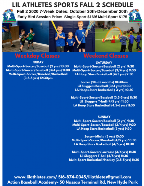 Action Baseball Academy-NEW HYDE PARK-Lil Athletes Fall 2 2020 Schedule