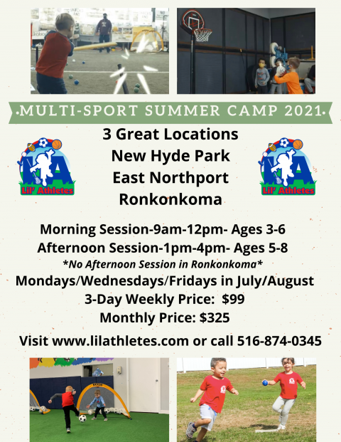Summer Multi-Sport Camp 2021 Registration now OPEN!  New Hyde Park, East Northport, and Ronkonkoma!